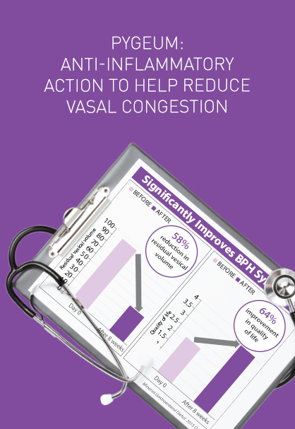 PYGEUM: ANTI-INFLAMMATORY ACTION TO HELP REDUCE VASAL CONGESTION