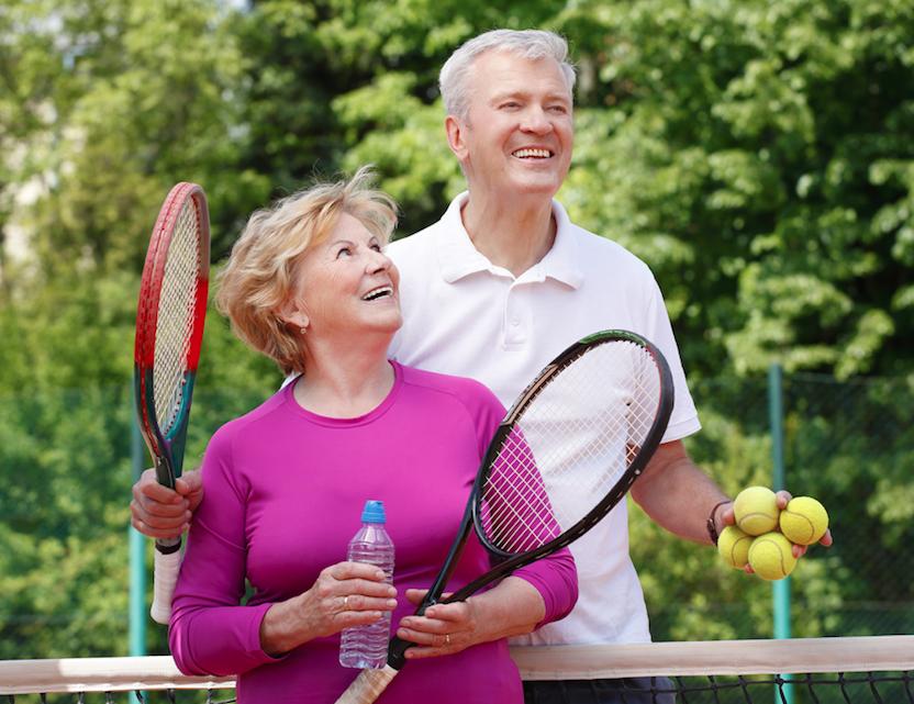Elderly tennis players