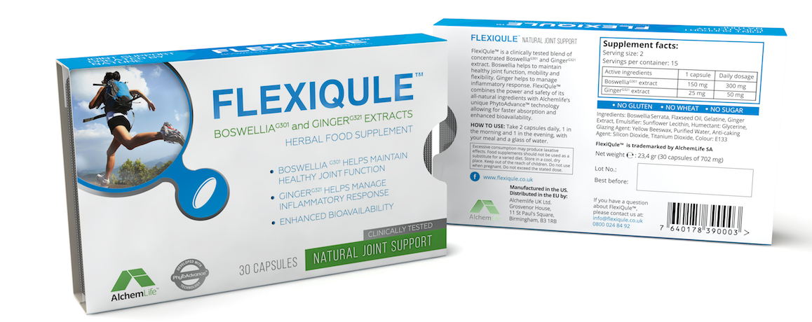 FlexiQule front and back of packet