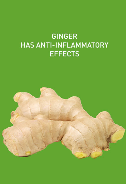 GINGER HAS ANTI-INFLAMMATORY EFFECTS