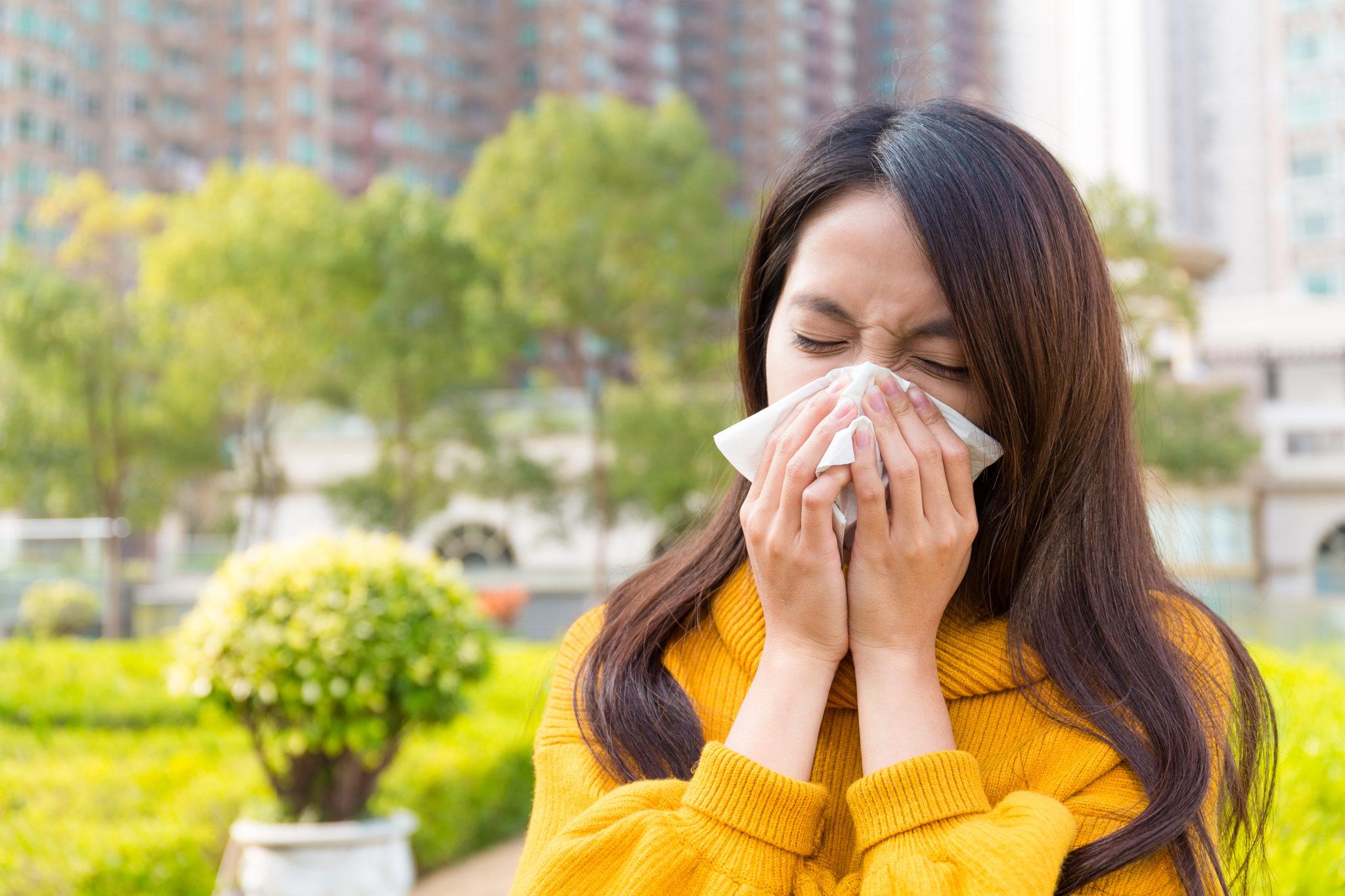 Lady sneezing