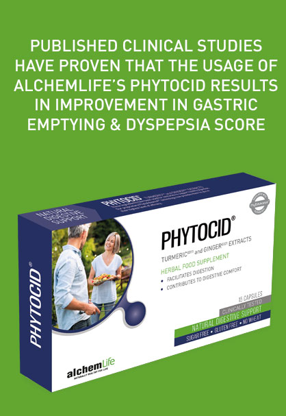Published clinical studies have proven that the usage of AlchemLife's PhytoCid results in improvement in gastric emptying & Dyspepsia score